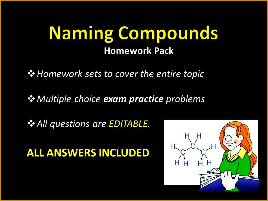 Naming pounds HOMEWORK sets w ANSWERS Nomenclature Writing formulae MCQ Exam 669892