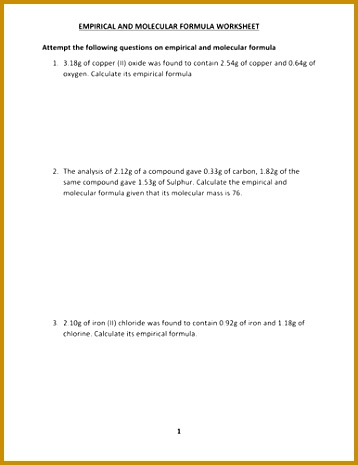 EMPIRICAL AND MOLECULAR FORMULA WORKSHEET WITH ANSWERS by kunletosin246 Teaching Resources Tes 465358