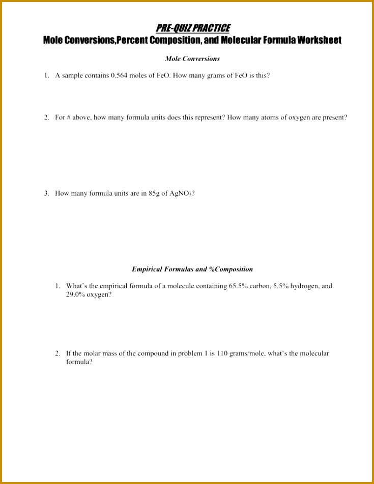 4 Empirical And Molecular Formula Worksheet Fabtemplatez. Empirical And Molecular Formula Worksheet 93785 Percent Position. Worksheet. Mole Conversions And Percent Position Worksheet At Mspartners.co