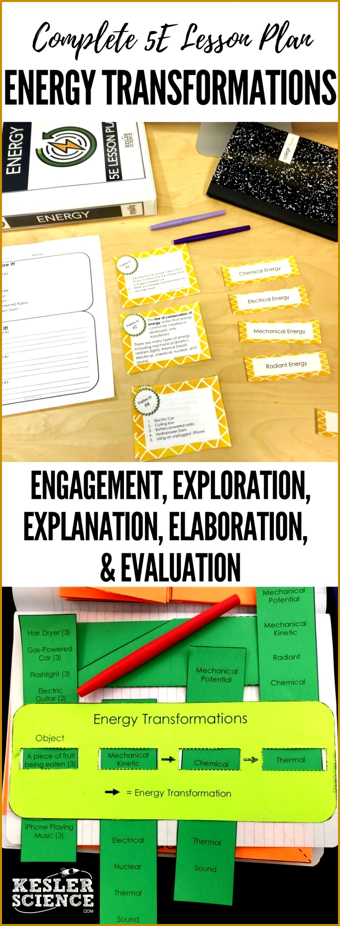Energy Transformations 5E Lesson Plan ready to print and teach the entire energy unit Includes word wall of vocabulary interactive science notebook 1860683