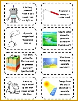 Copy these energy transformation cards double sided for a great tool to enrich energy transformations 325251