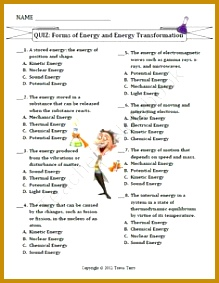 TEST Forms of Energy & Energy Transformations product from MrTerrysScience on TeachersNotebook 283219