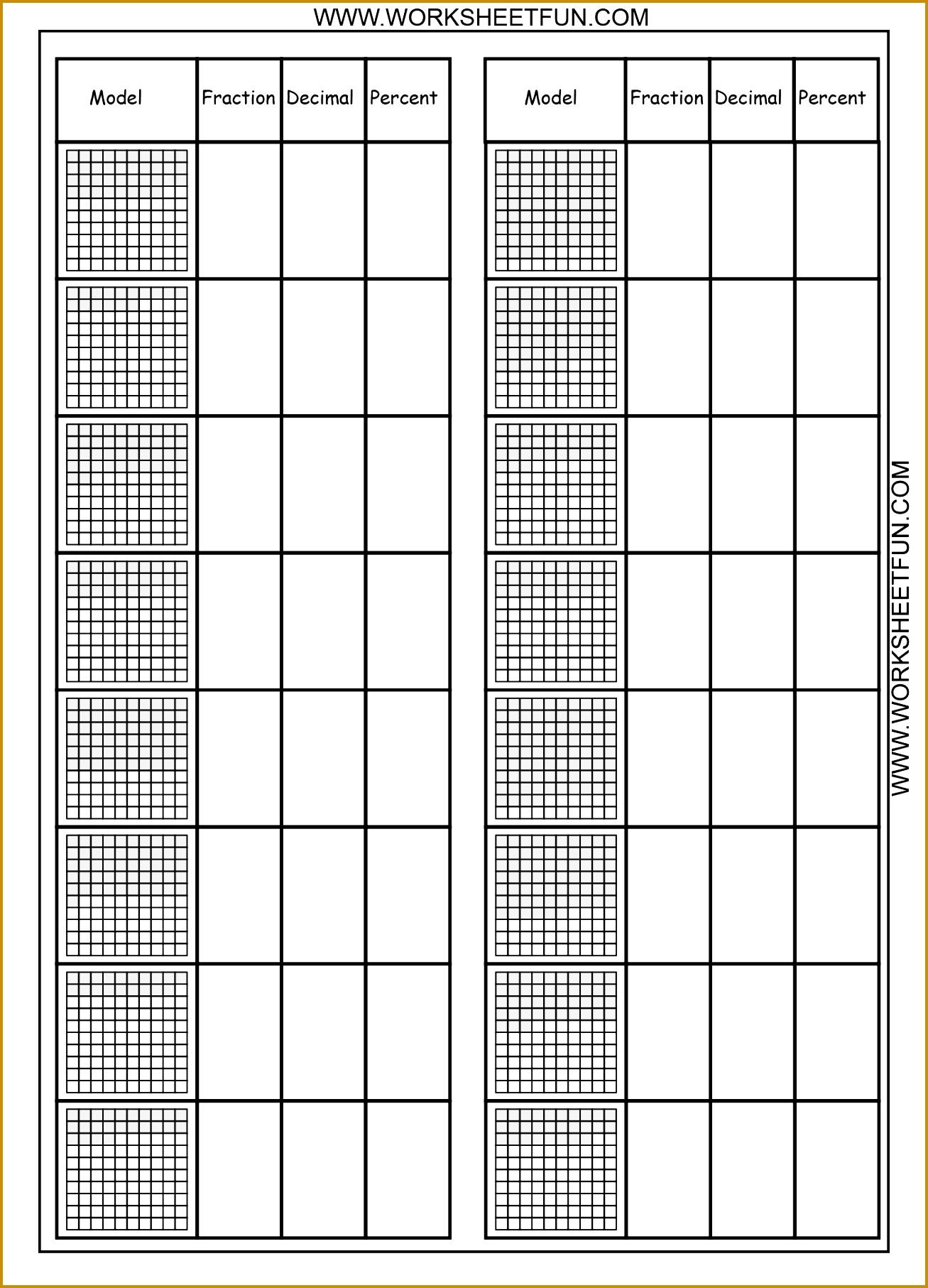 Convert between percents fractions and decimals – 8 Worksheets 18131307