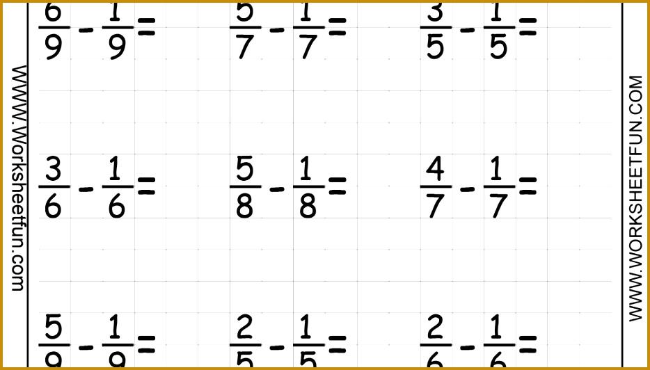 Fraction Subtraction Six Worksheets 532934