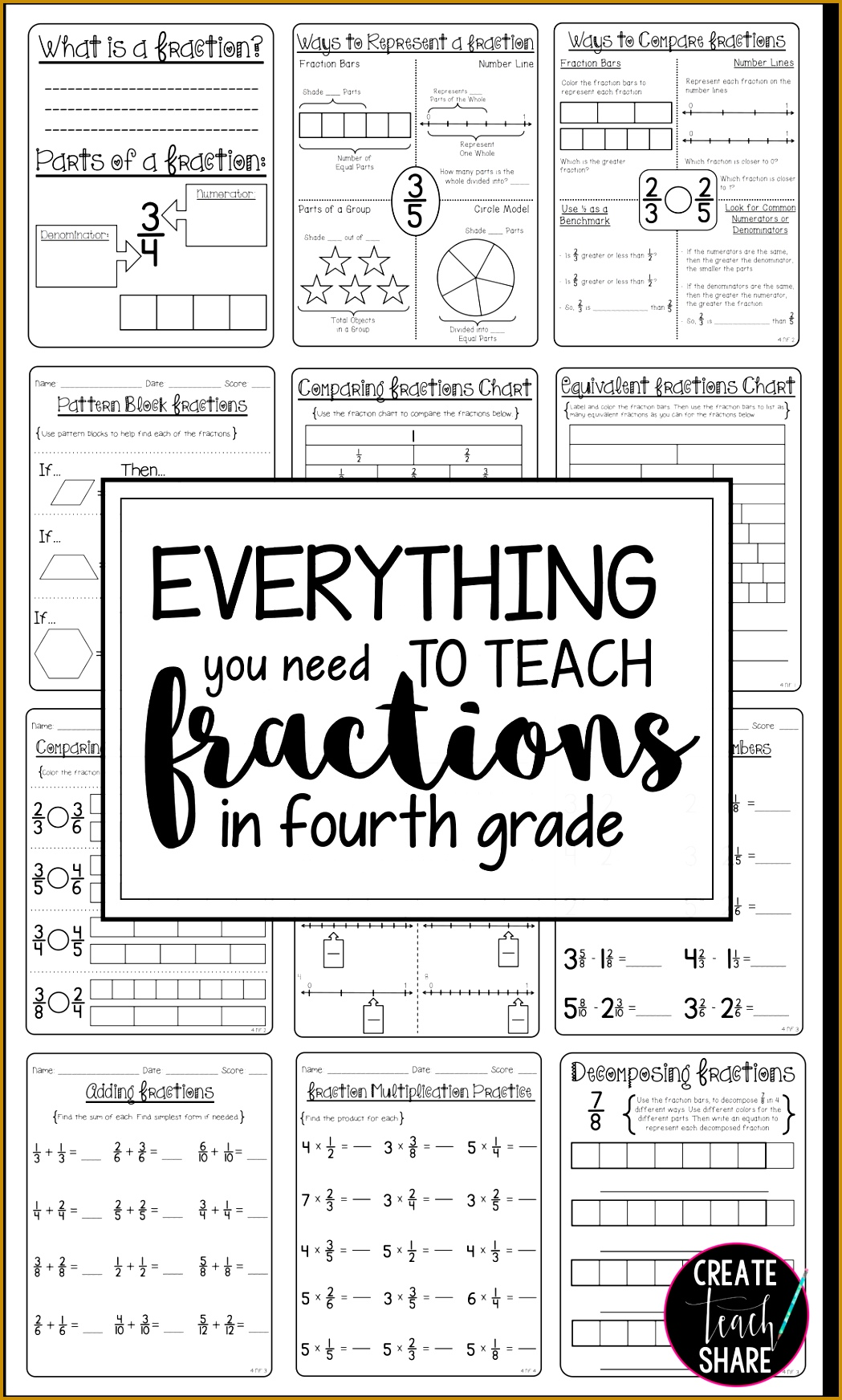 80 pages to help teach fractions in 4th grade 17441049