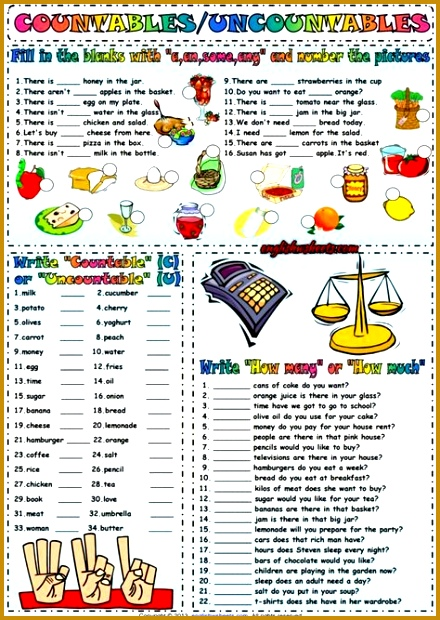 Countables And Uncountables ESL Exercises Worksheet 620440