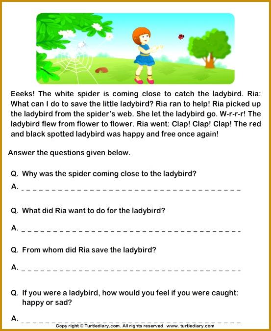 grade 1 english prehension worksheets Google Search 674553