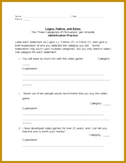 Persuasion Logos Pathos and Ethos Identification Practice Sheet 325251
