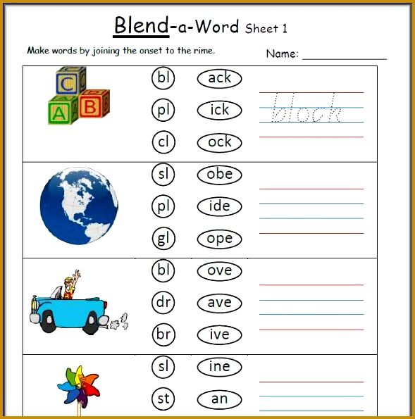 Kindergarten Blending Sounds Worksheets Worksheets for all Download and Worksheets 595589
