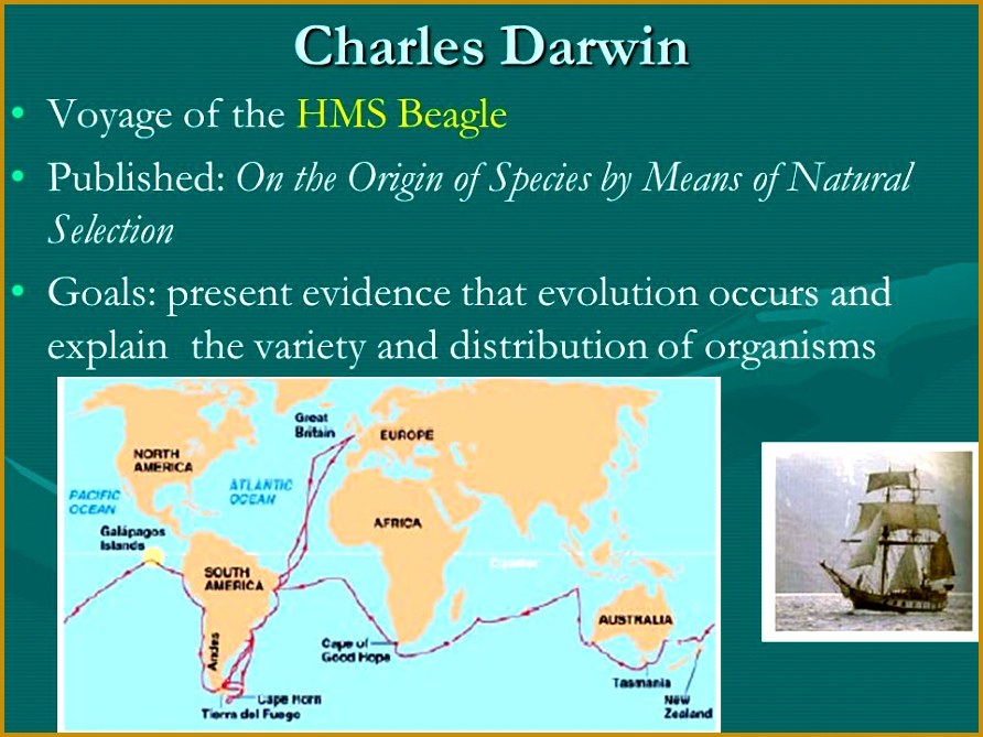 10 Charles Darwin Voyage of the HMS Beagle Published the Origin of Species by Means of Natural Selection Goals present evidence that evolution occurs 669892