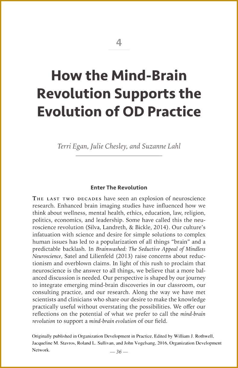 How the Mind Brain Revolution Supports the Evolution of OD Practice PDF Download Available 1222790