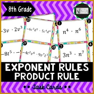 Exponent Rule Product Rule Task Cards 8 EE A1 325325
