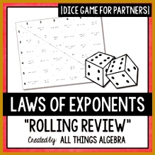 Exponent Rules Laws of Exponents Dice Game 219219