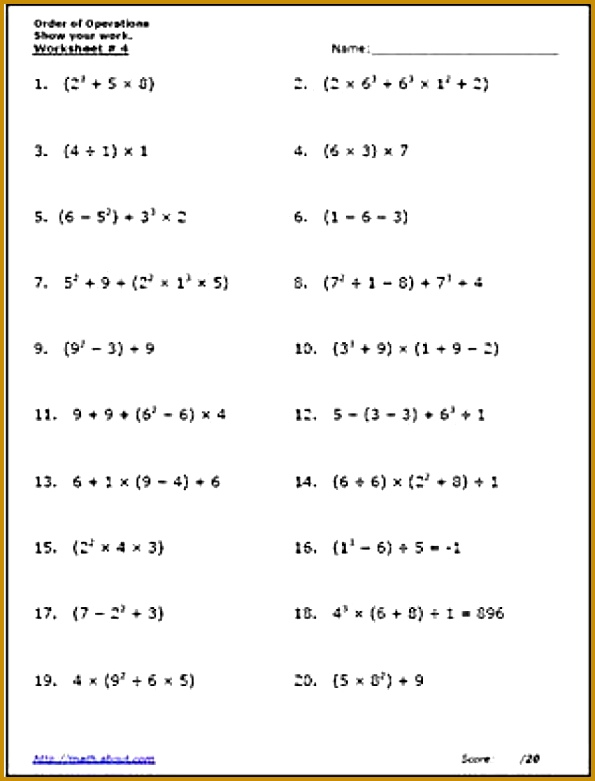 Practice the Order of Operations With These Free Math Worksheets 781595