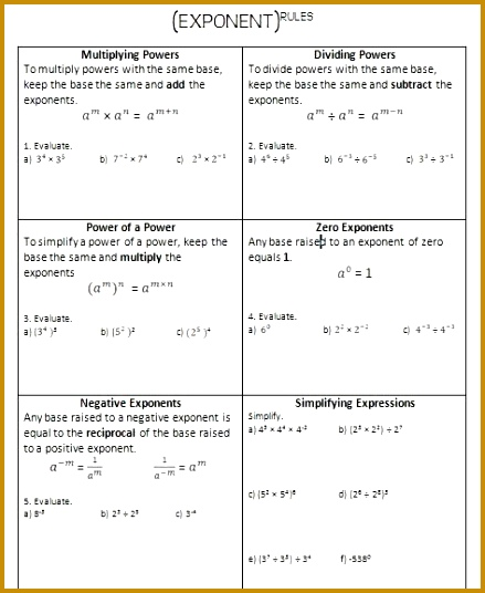 I created this Exponent Rules Review Worksheet to work through with the students on an overhead 536439