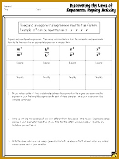Discovering Laws of Exponents Inquiry Activity Product Quotient & Power Rules 325244