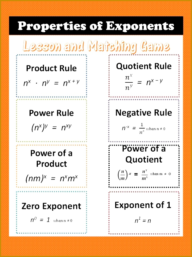 Properties of Exponents lesson includes printable chart worksheet answer key and matching 892669