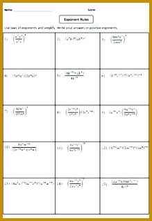 Preview Laws of Exponents Worksheets 317219