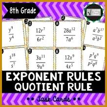 Exponent Rule Bundle Power Product Quotient Negative & Zero Exponent Rules 219219