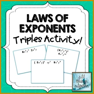 Exponent Rules Laws of Exponents Triples Activity 325325