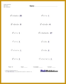 Practice exponents worksheets introducing exponent syntax calculation of simple exponents powers of ten and scientific notation The first of the… 277219