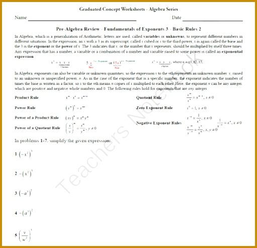 Basic Algebra Worksheet 8 Pre Alg Rev Funds of Exponents 3 494511
