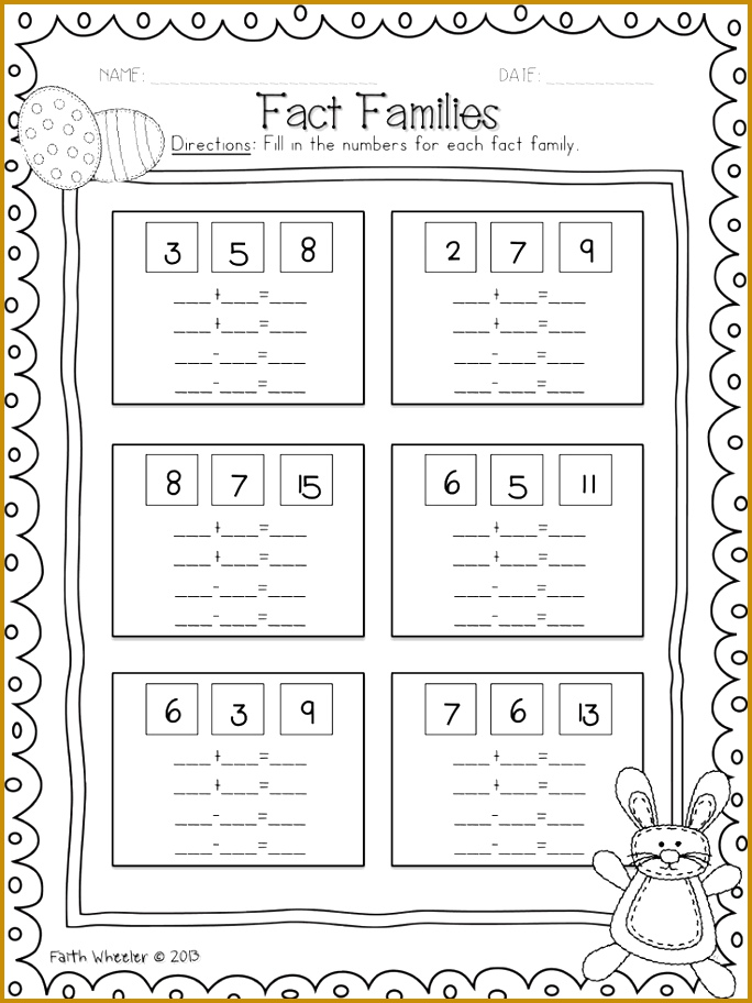 7 fact family worksheets
