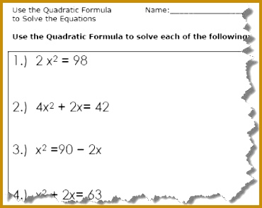 Use the Quadratic Formula to solve the equations Quadratic formula worksheets with answers 293370