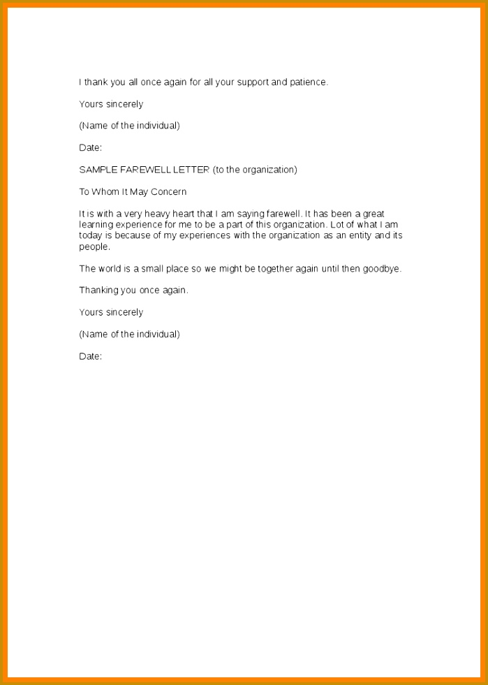 Farewell Email To Colleagues Samplefarewell Coworkers Sample Template With Regard Letter 981699