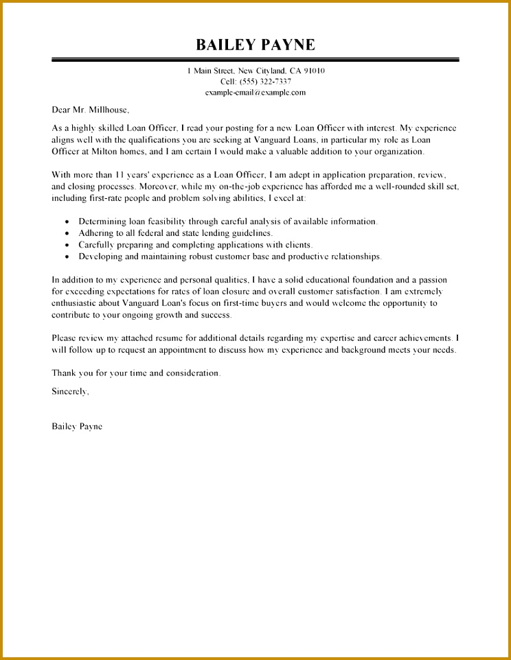 Loan ficer Cover Letter Example 962744