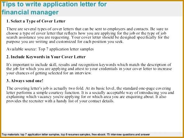 3 Tips to write application letter for financial 445593