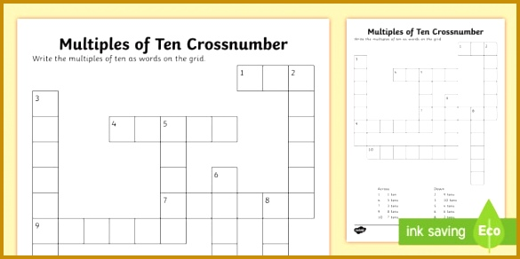 KS1 Multiples of 10 Crossnumber Worksheet Activity Sheet Crossword across down 292585
