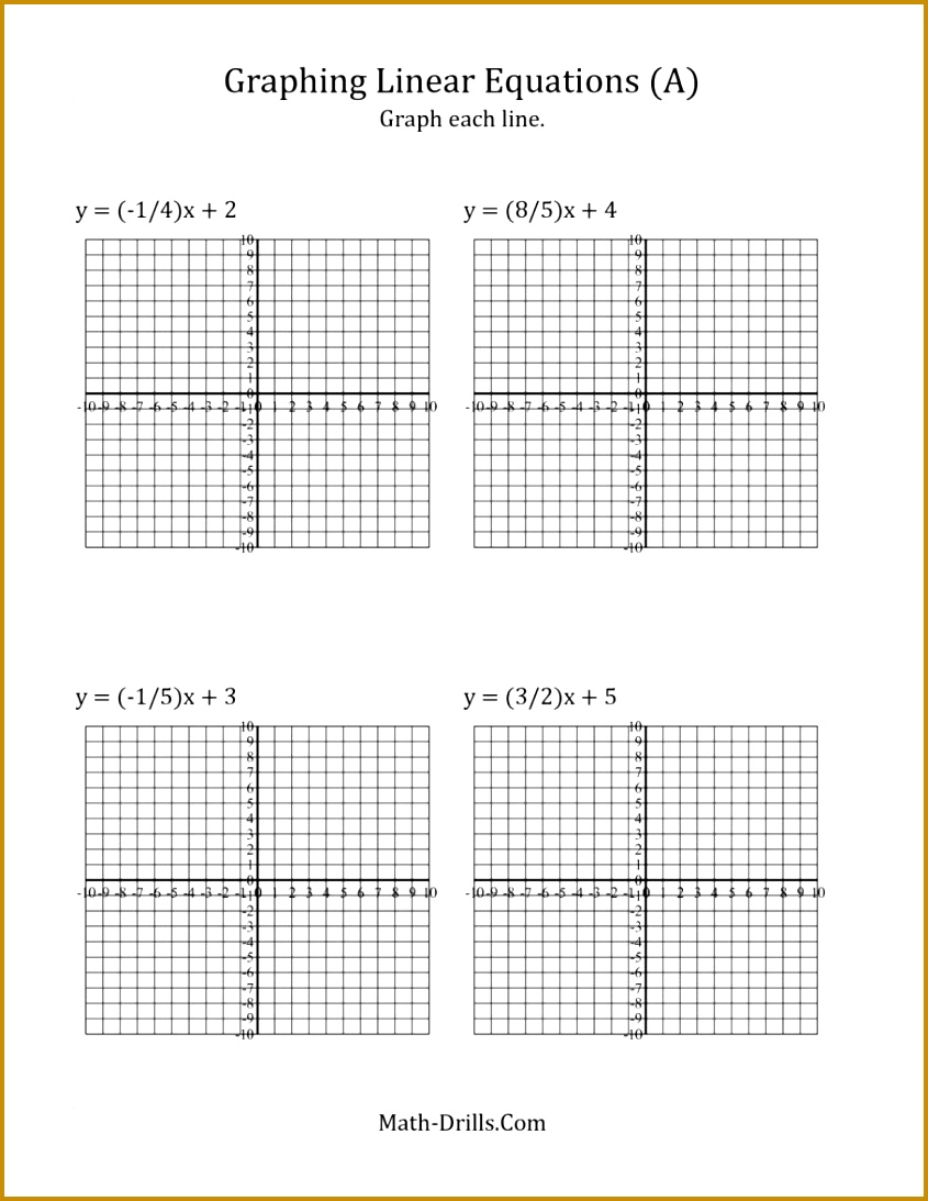 Stage Graph A Linear Equation In Slope Intercept Form A Algebra Worksheet 1093845