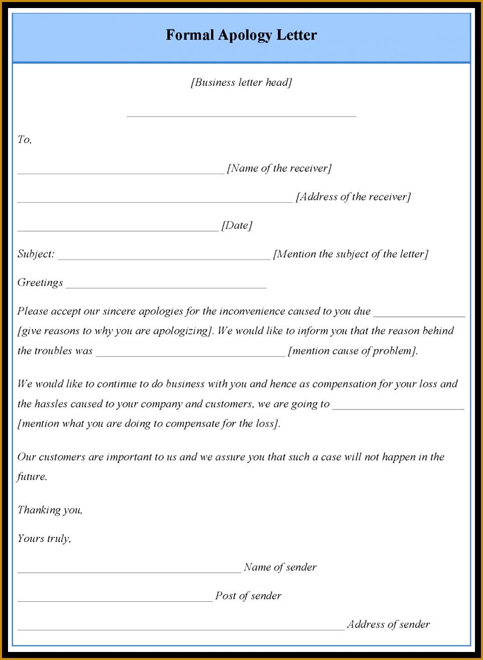 Apology Letter Example Formal Letter Template Apology Sample Service Resume Layout For 1315963