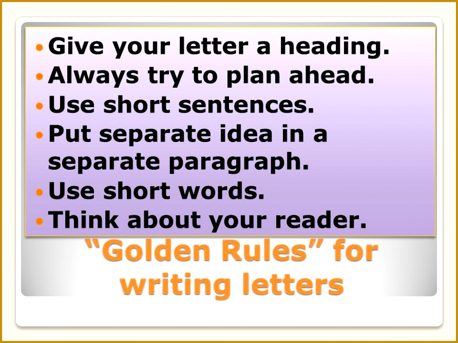 Golden Rules for writing letters 892669