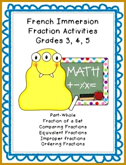 French Immersion Fraction Worksheets Grade 3 4 5 CUSTOMIZABLE 325249