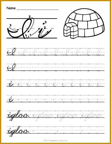 Free Printable Cursive I Worksheet 379491