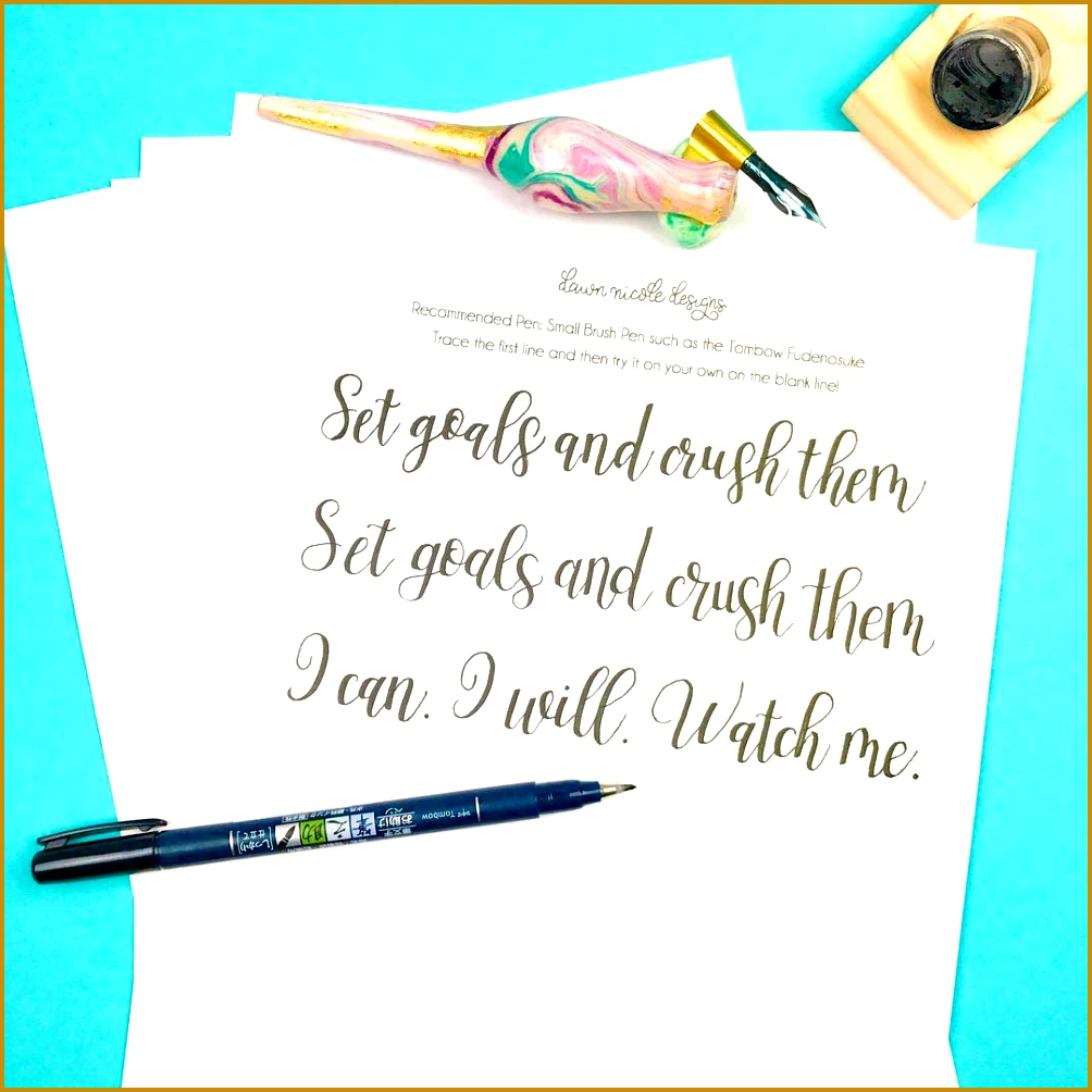 10 Free Hand Lettering Practice Worksheets 10041004