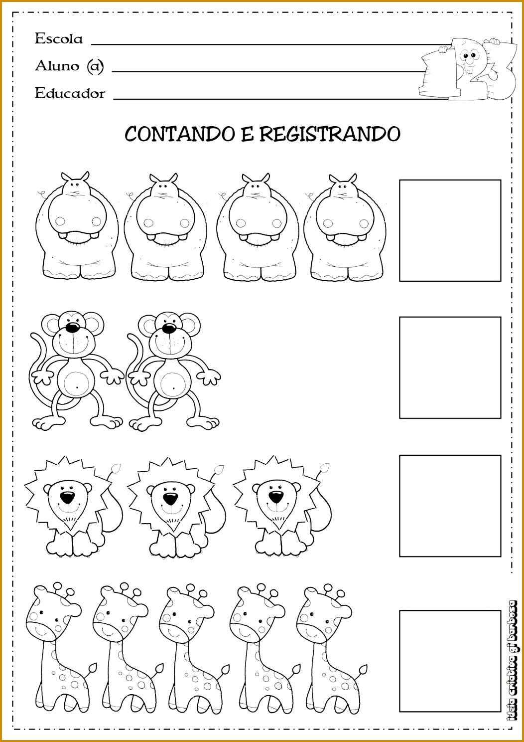 Atividade Matemática Educa§£o Temática Animais Selvagens Kindergarten WorksheetsPreschool PrintablesAlphabet 14881052