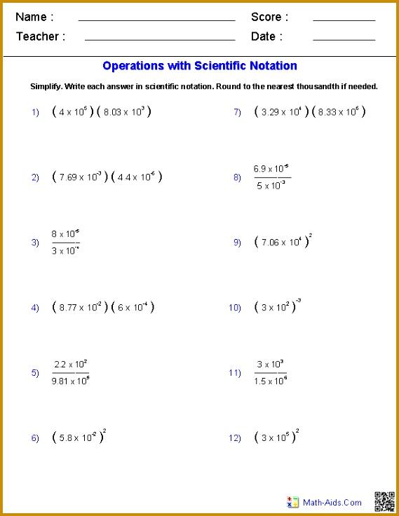 Word Problems Scientific Notation Worksheet 736569