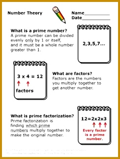 Number Theory GCF and LCM Divisibility Rules Prime Factorization Worksheets 325244