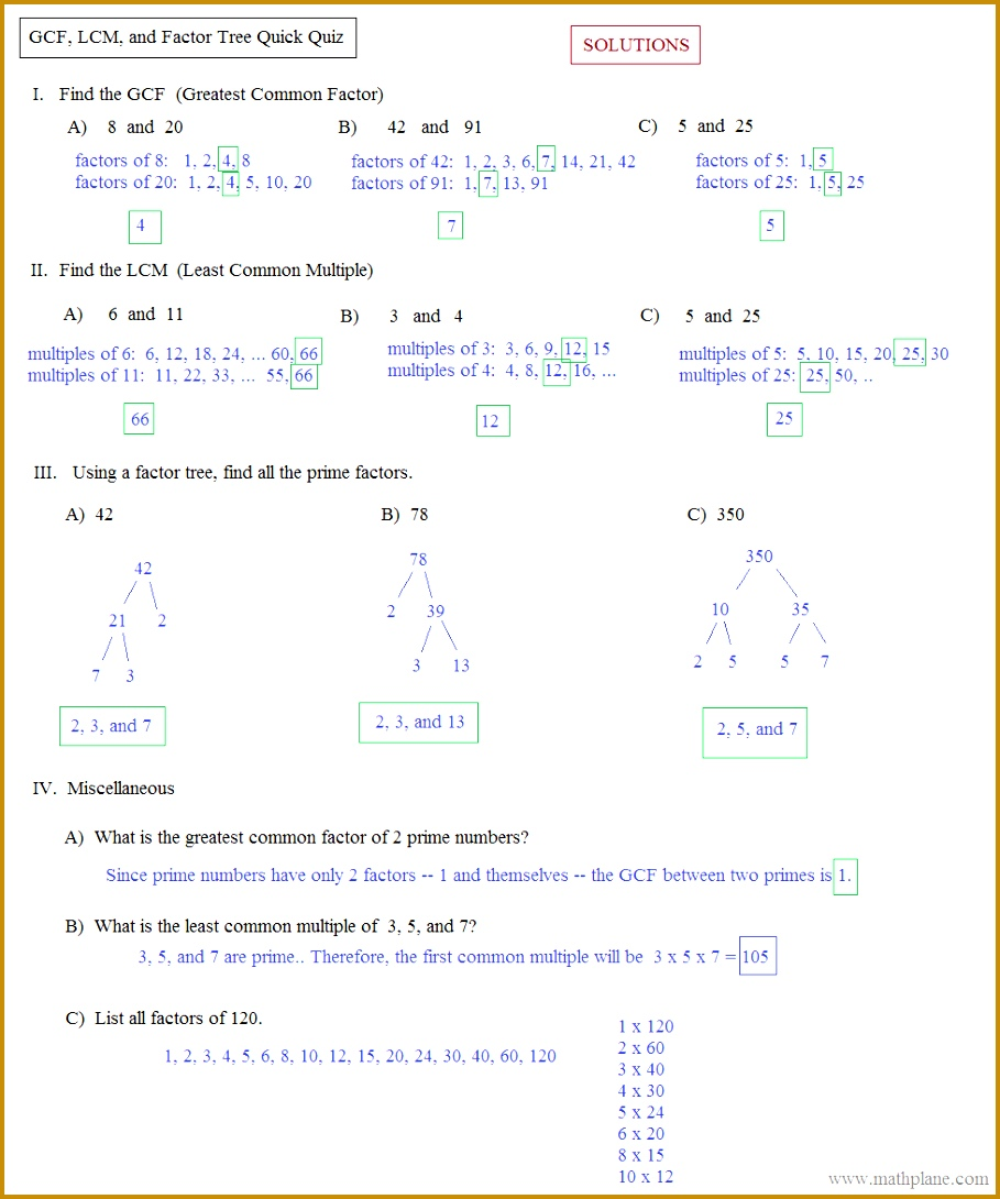 GCF LCM Factor tree quick quiz solutions 1090909