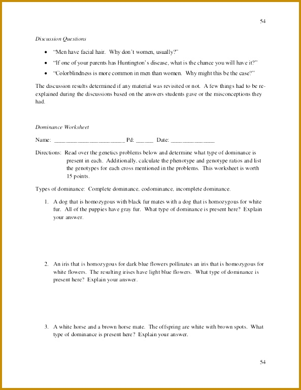 Genotype And Phenotype Worksheet Answers