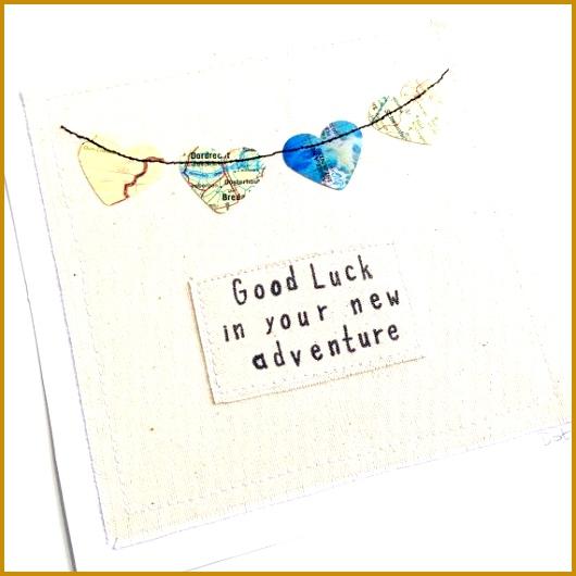 Bon Voyage personalised greeting card Good luck graduation gap year travel adventure World globe atlas map embroidery paper art 530530