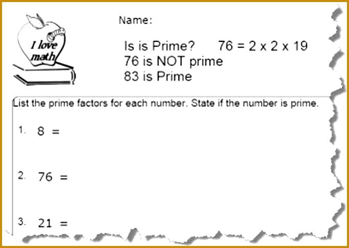 Free Prime Number Worksheets 486683