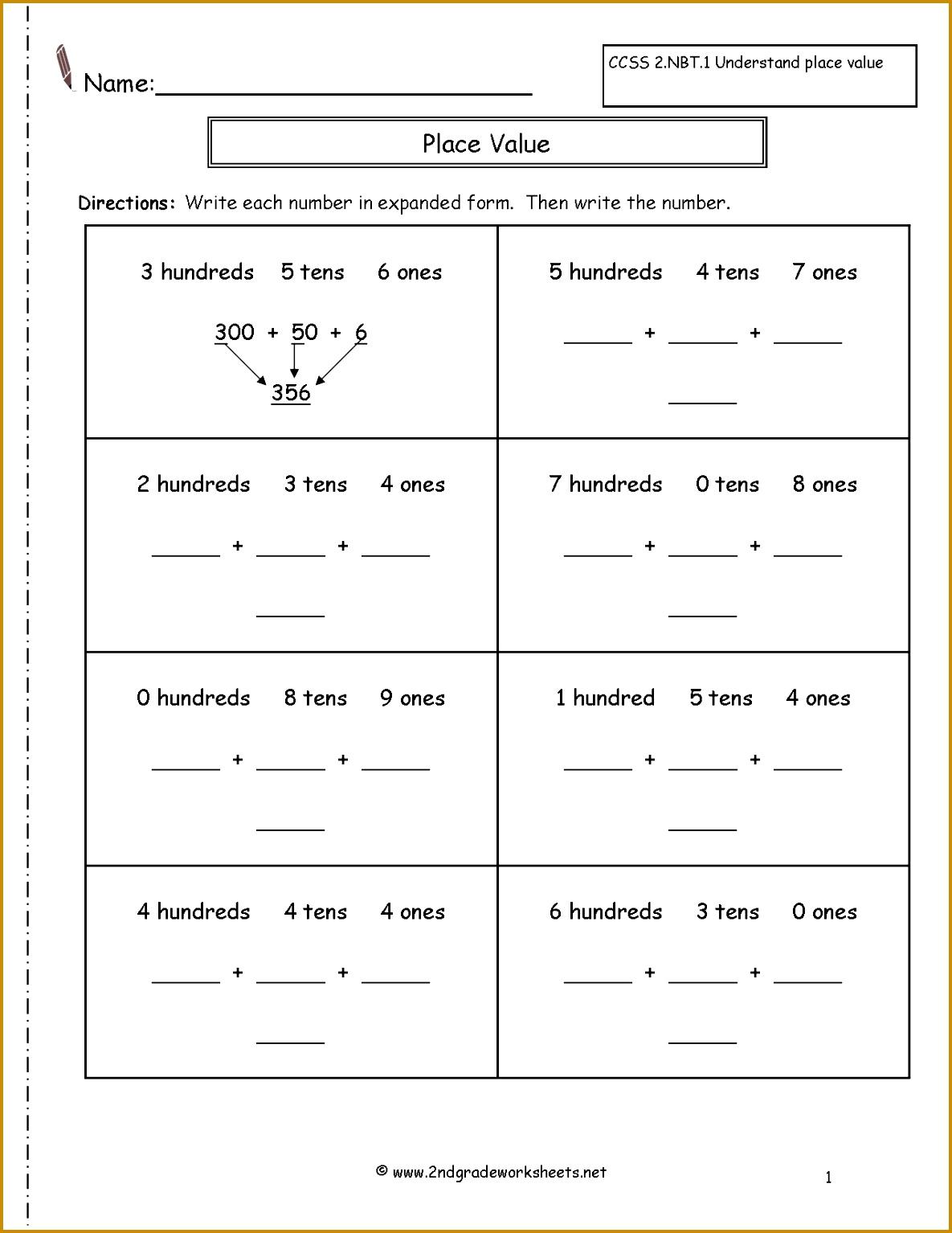 Place Value Expanded Form Worksheets Worksheets for all Download and Worksheets 15341185