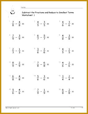 Fraction Worksheets 370285