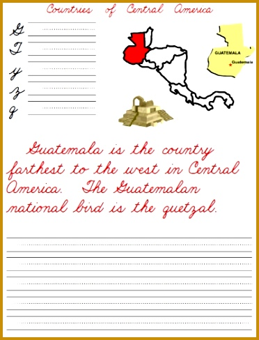 Countries of Central America between Mexico and South America FREE handwriting worksheets 488372
