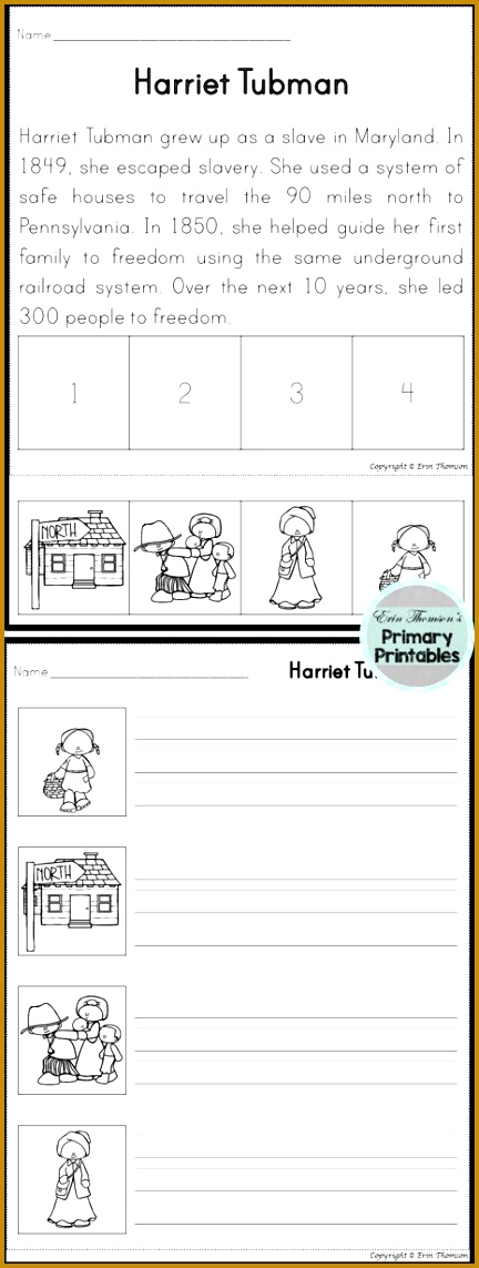 Harriet Tubman Sequencing Story cut and paste the four pictures in the order that depicts 4321143