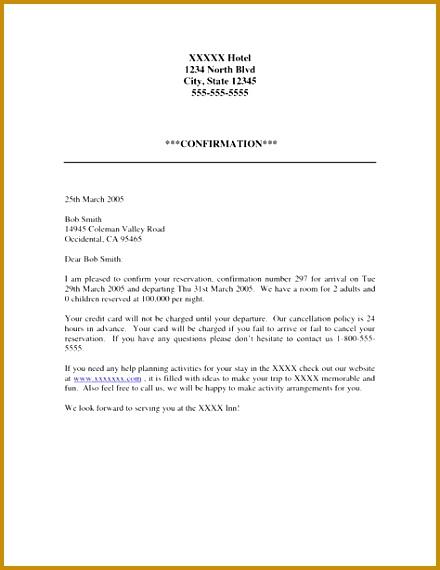 6 hotel confirmation letter sample fabtemplatez hotel confirmation letter sample 25798 95 hotel reservations email sample although some the spiritdancerdesigns Images
